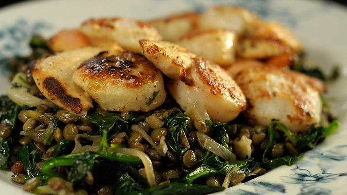 Scallops with lentils and spinach | French recipes | SBS Food