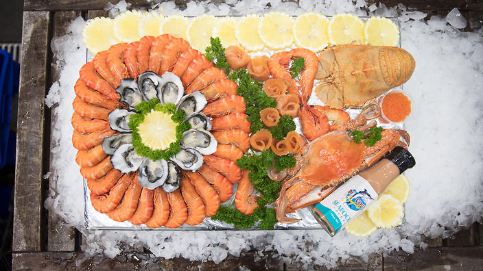 Customers can now order fresh prawns, oysters, sashimi and caviar straight from the markets to their door.