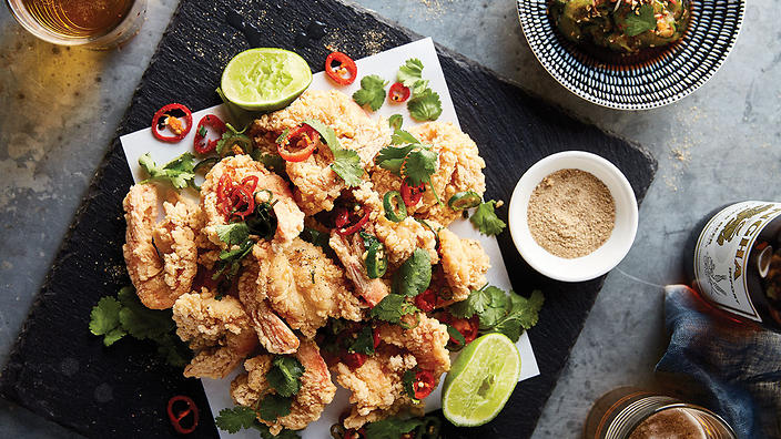 Sichuan salt and pepper king prawns with wok-toasted chilli and garlic