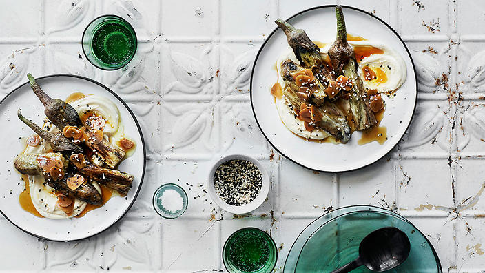 Charred Japanese eggplant with garlic and sesame