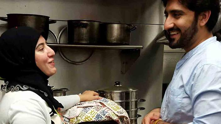 Sheena and Syed in the kitchen at PeaceMeals