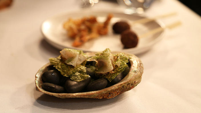 Smoked black-lipped abalone is teamed with lemon myrtle.
