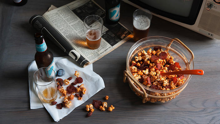 Smoky chilli and chorizo popcorn