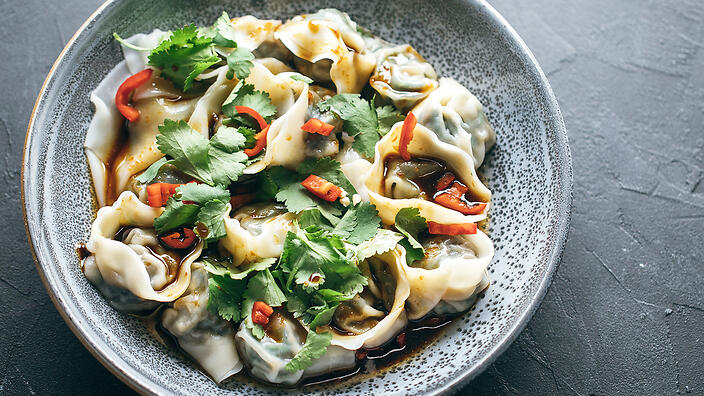 Spinach and water chestnut dumplings