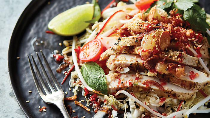 Grilled Lemongrass Chicken Salad With Nuoc Cham Chicken Recipe Sbs Food