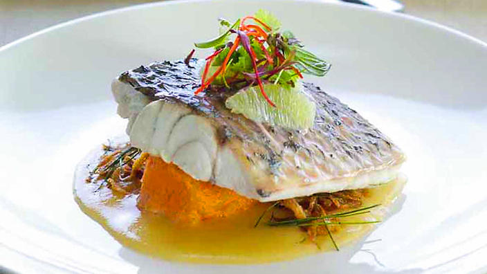 Steamed barramundi with lime coconut sauce recipe sbs food - French haute cuisine dishes ...
