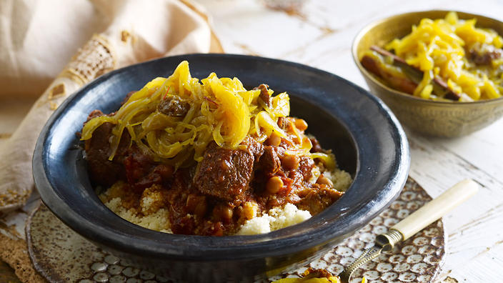 Tfaya with lamb tagine and couscous