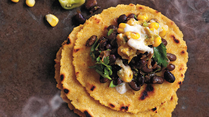 Turtle beans with chipotle creamed corn