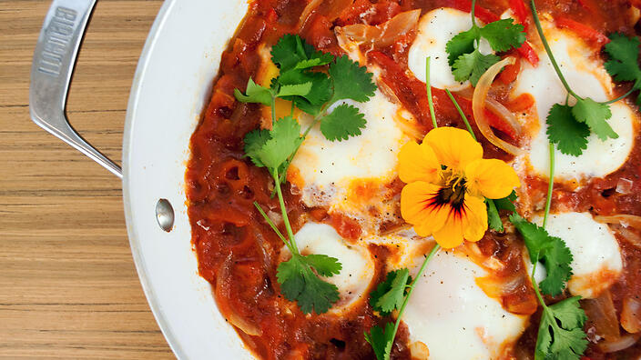 Shakshuka With Mozzarella Recipe Breakfast Recipes Sbs Food