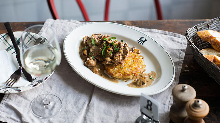Veal and mushroom sauce and rosti