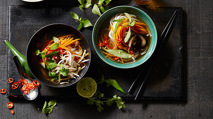 Vegetarian pho with shiitake mushrooms
