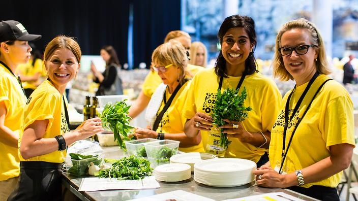 Volunteers take part in a previous CEO cookoff.