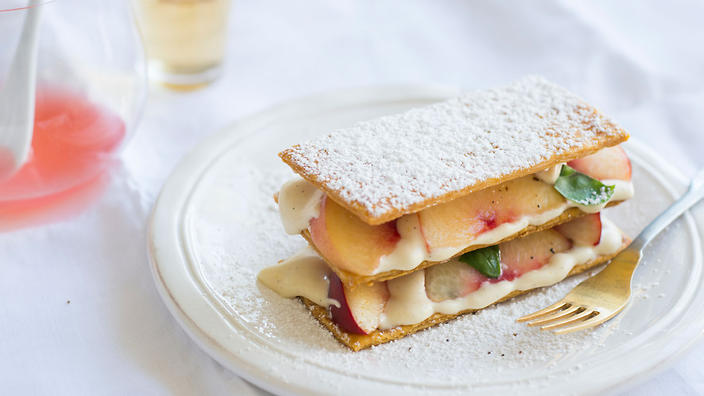 White peach and basil mille feuille