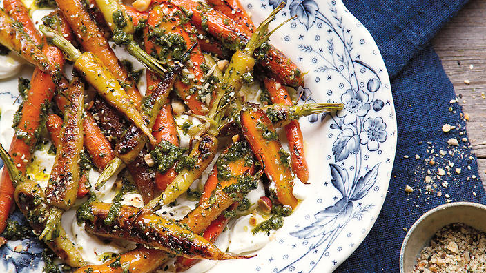 Carrots, their tops, honey and smoked yoghurt