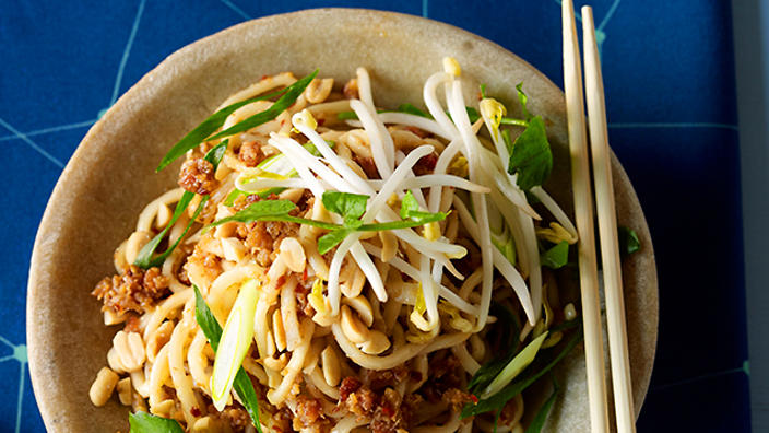 Noodles with XO, sprouts and peanuts