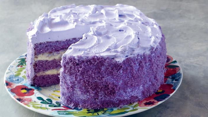 Ube macapuno cake is a sight for sore eyes.