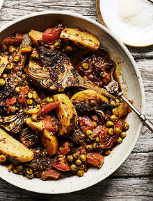 Moroccan recipes and moroccan food sbs food artichoke and pea tagine forumfinder Image collections