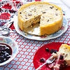 Farm-cheese cake with cherry compote (syrnyk)