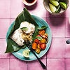 Spiced tuna and sticky rice in banana leaf