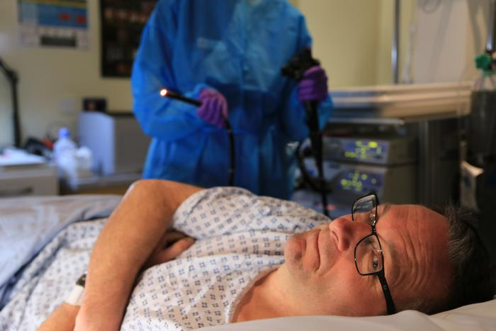 Michael Mosley about to have a bowel scope.