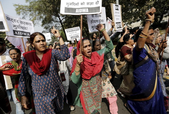 Women demand and investigation into rapes and sexual assaults in Haryana state.