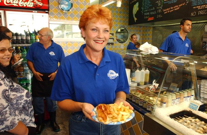 Pauline Hanson in a fish and chip shop