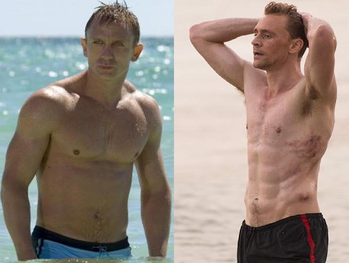 daniel craig tom hiddleston shirtless. Just going for a sexy swim.