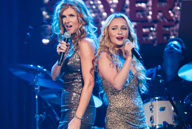 Country divas Rayna (Connie Britton) and Juliette (Hayden Panettiere) sing up a storm in Nashville.