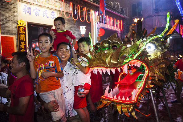 Fire Dragon Dance On Mid-Autumn Festival In Guangzhou