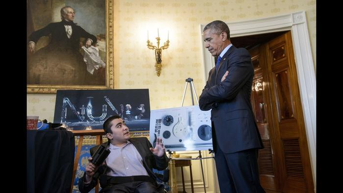 Mohammed Sayed meeting President Obama at The Whitehouse.