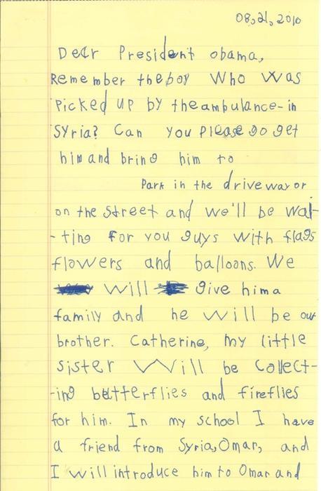 alex letter obama syria refugee