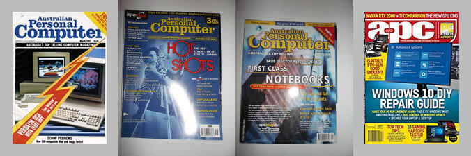 'APC' magazine in the 1980s (left), 1990s (centre) and how it looks today (right).