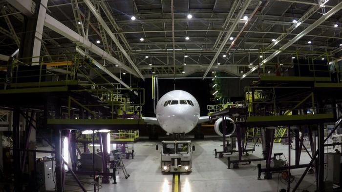 aircraft in hangar