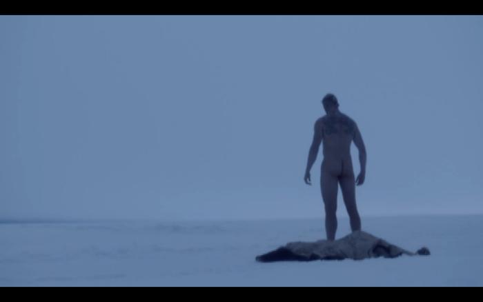 Bjorn shed bearskin for nude swim Vikings