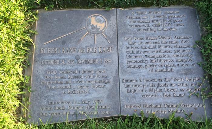Bob Kane grave, headstone