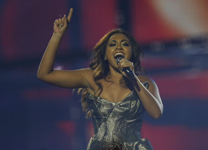 Australian singer Jessica Mauboy performs during the second semifinal of the Eurovision Song Contest in Copenhagen, Denmark, 2014.