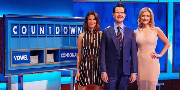 8 out of 10 cats does countdown hosts, Susie Dent, Jimmy Carr, Rachel Riley