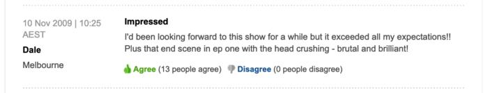 Dead Set viewer comment