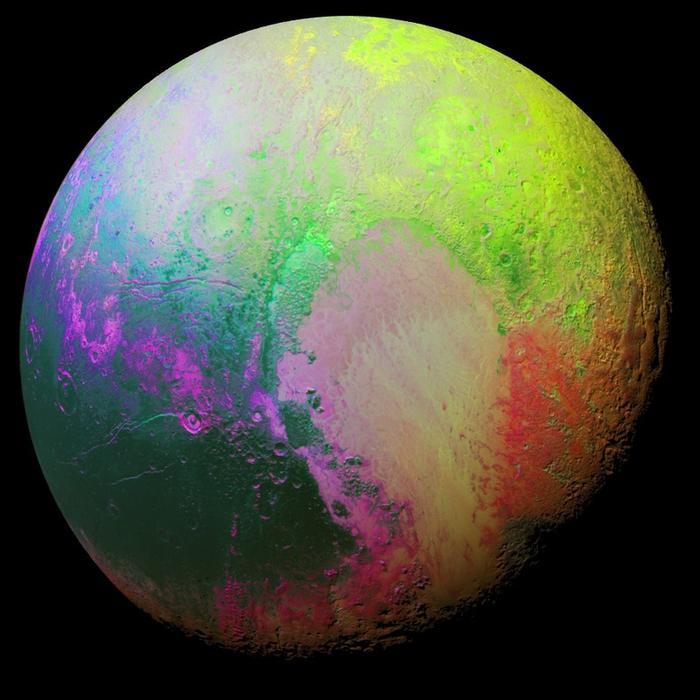 pluto false colour image