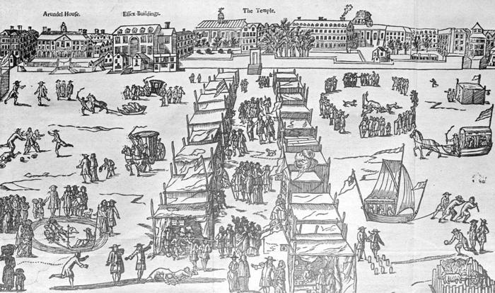 Frost Fair on the Frozen Thames Woodcut