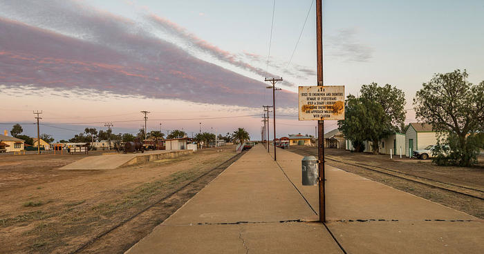 Dawn over the disused rail lines at Marree