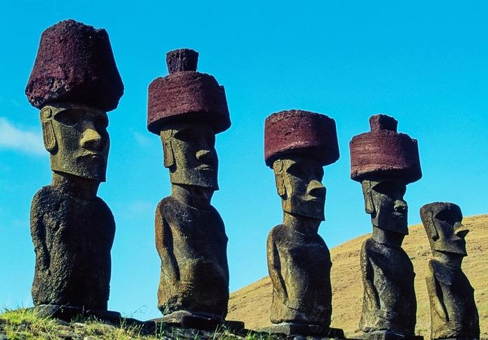 Statues, Easter Island, Chile