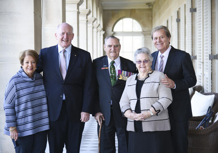 His Excellency General the Honourable Sir Peter Cosgrove AK MC (Retd), Governor-General of the Commonwealth of Australia, and Her Excellency Lady Cosgrove with Keith Payne, VC, AM, Florence Payne and Ray Martin at Admiralty House, Sydney.