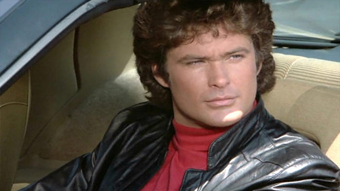 Hasselhoff drives KITT, the talking car from Knight Rider