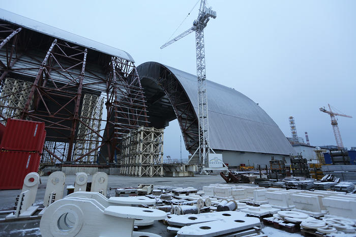 The New Safe Confinement under construction at Chernobyl