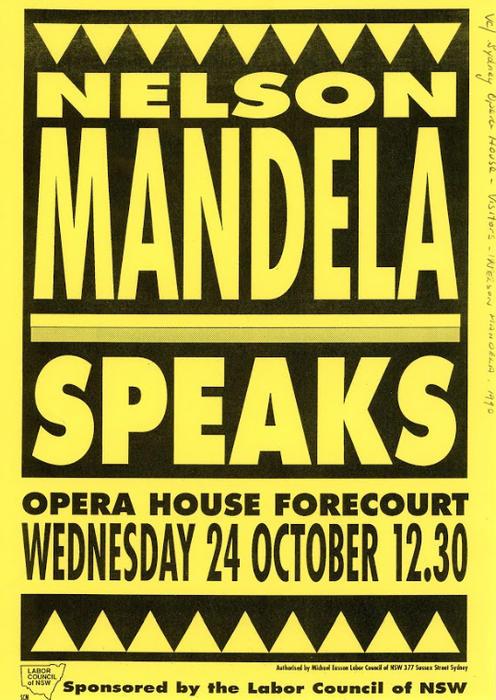 A 1990 flyer advertising Nelson Mandela's Sydney speech.