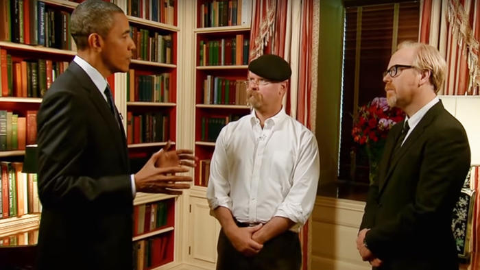 Mythbusters, President Obama, Jamie Hyneman, Adam Savage
