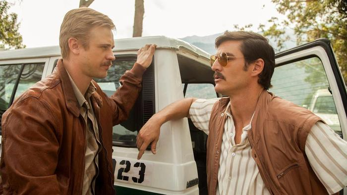 Boyd Holbrook as Steve Murphy (left) and Pedro Pascal as Javier Peña in 'Narcos' season one.