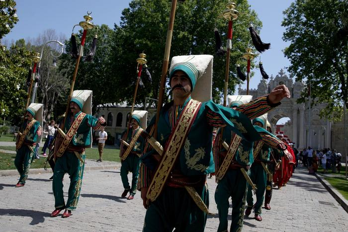 Mehter team performs at Dolmabahce Palace in Istanbul