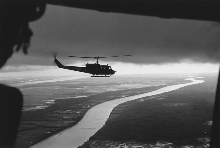 South Vietnamese troops fly over the Mekong Delta.